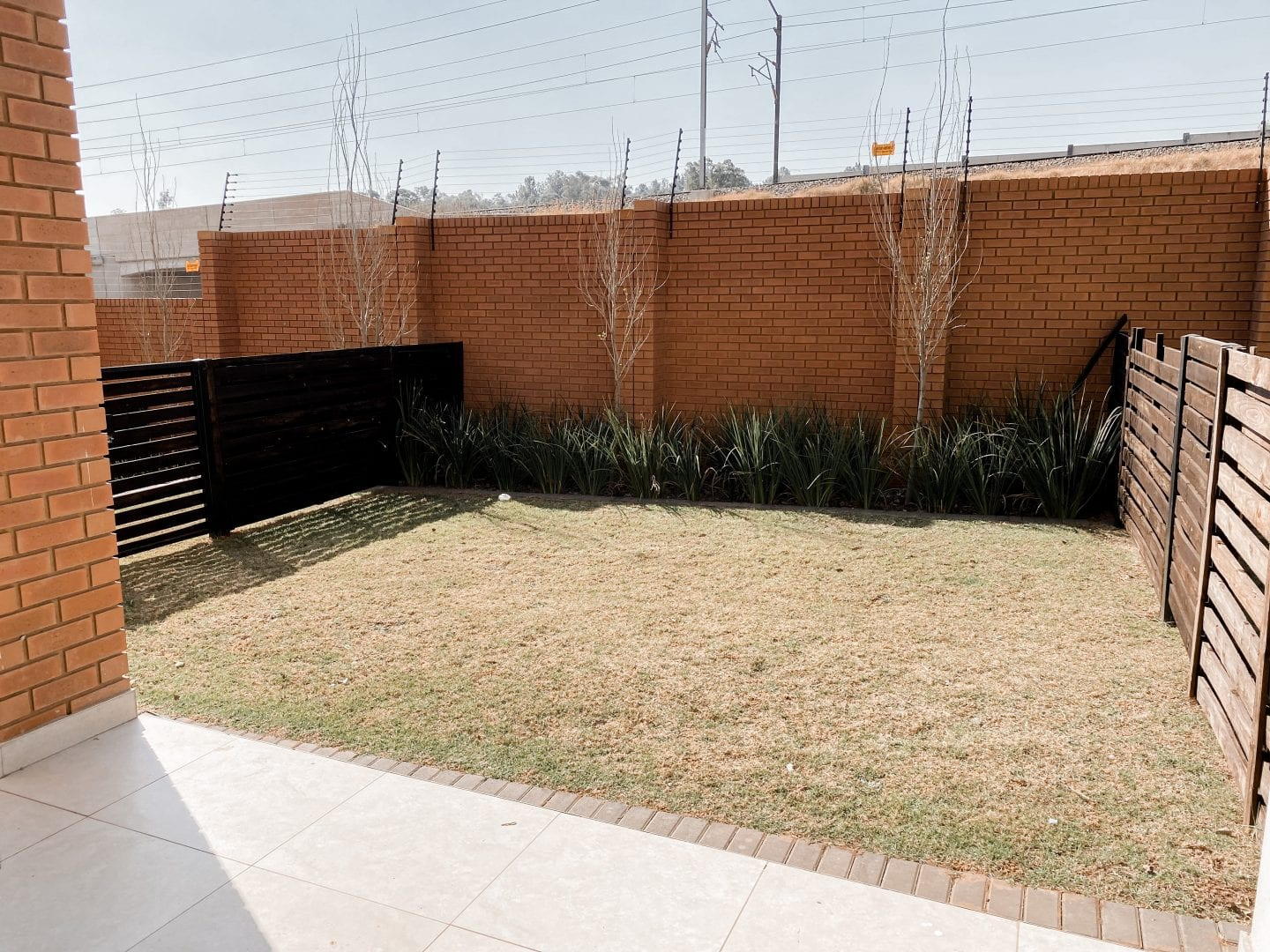 Empty garden with fencing, trees and plants